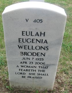 Eulah Eugenia Jean <i>Wellons</i> Broden