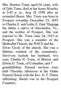 Bernice G <i>Thomas</i> Toms