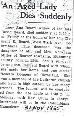 Lucy Ann <i>Miller</i> Beard