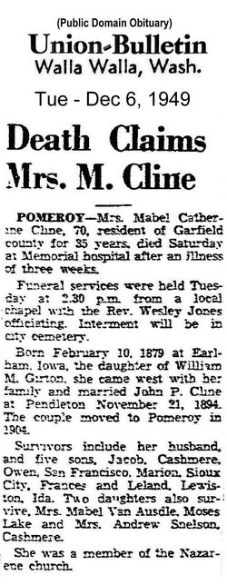 Mabel Catherine <i>Girton</i> Cline