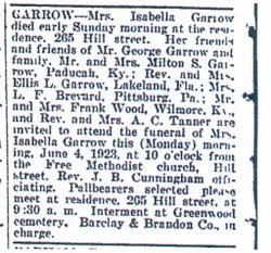 Isabella <i>Ayers</i> Garrow