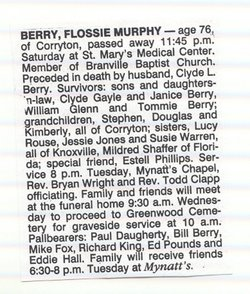 Flossie Ruth <i>Murphy</i> Berry