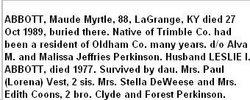 Maude Myrtle <i>Perkinson</i> Abbott