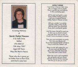 Sarah Sally <i>Donnelly</i> Neeson