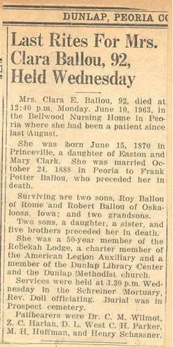 Clara E <i>Clark</i> Ballou