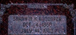 Sarah Ann Kate <i>Newbold</i> Cooper