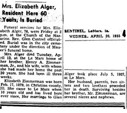Elizabeth <i>Zimmerman</i> Alger