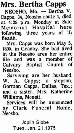 Bertha Virginia <i>Meadows</i> Capps