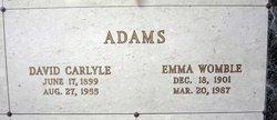 Mrs Emma <i>Womble</i> Adams