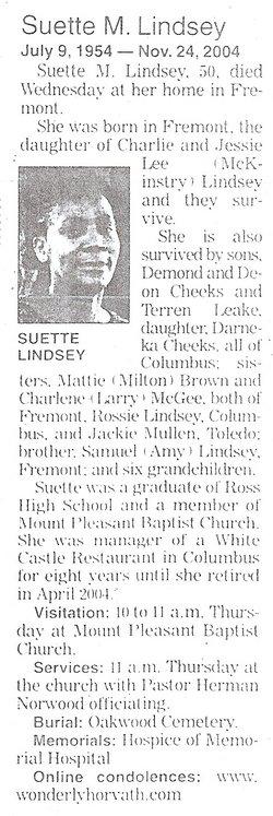 Suette M Lindsey