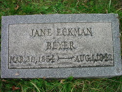 Alvira Jane Jennie <i>Eckman</i> Beyer