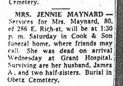 Mrs Jennie Maynard