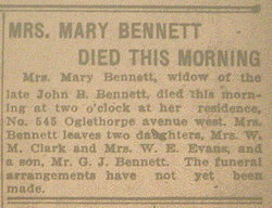 Mary Ann R. <i>Miller</i> Bennett