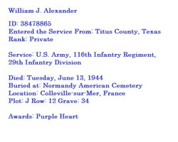 Pvt William J Alexander
