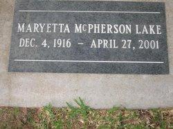 Maryetta <i>McPherson</i> Lake