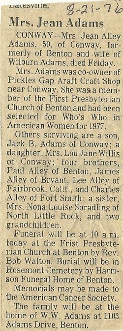 Jean <i>Alley</i> Adams