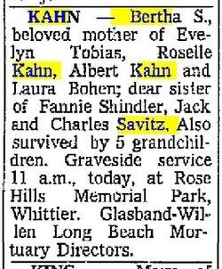 Bertha <i>Savitz</i> Kahn