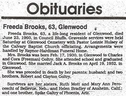 Freeda M. <i>Goltry</i> Brooks