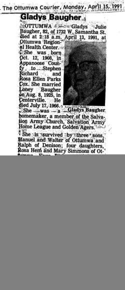 Gladys Julie <i>Cox</i> Baugher