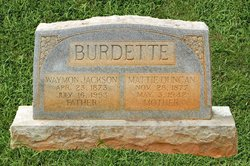 Mattie S <i>Duncan</i> Burdette