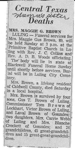 Maggie Gus <i>Teas</i> Brown