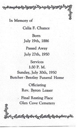 Celia Frances <i>Hunt</i> Chance