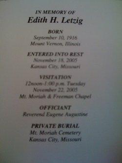 Edith A. <i>Howkins</i> Letzig