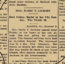 Martha Ettiie Mattie <i>Ours</i> Jackson