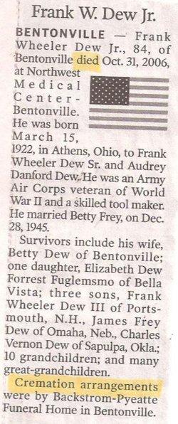 Frank Wheeler Dew, Jr