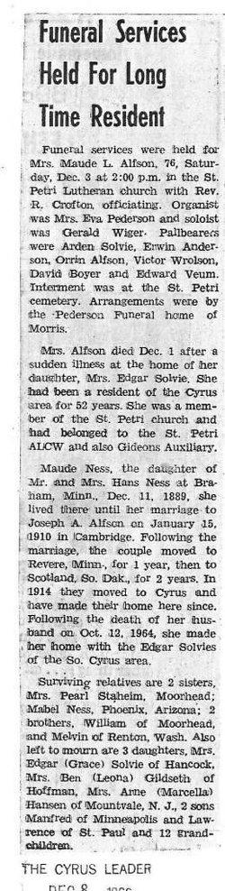 Maude L <i>Ness</i> Alfson