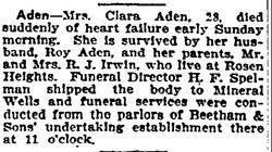 Clara <i>Irvine</i> Aden