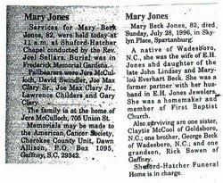 Mary <i>Beck</i> Jones