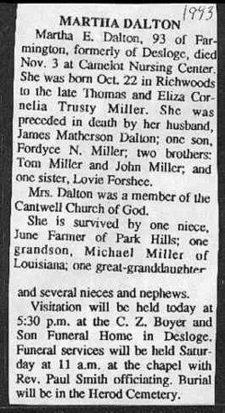 Martha E. <i>Miller</i> Dalton