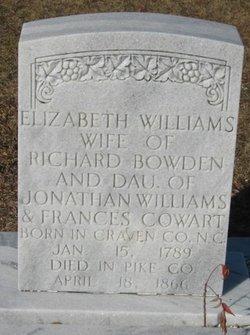 Elizabeth <i>Williams</i> Bowden