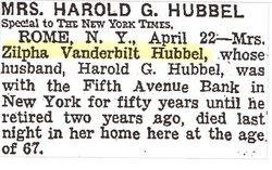 Zilpha <i>Vanderbilt</i> Hubbel