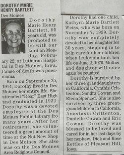Dorothy Marie <i>Henry</i> Bartlett