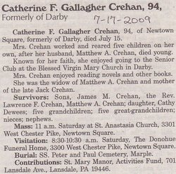Catherine F <i>Gallagher</i> Crehan