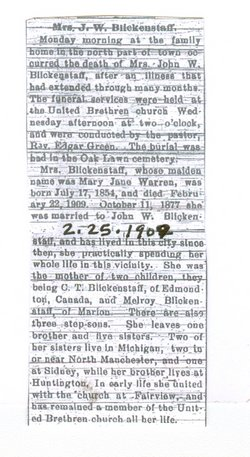 Mary Jane <i>Warren</i> Blickenstaff