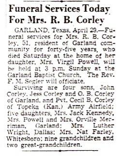Mary Josephine (Josie) <i>Granstaff</i> Corley