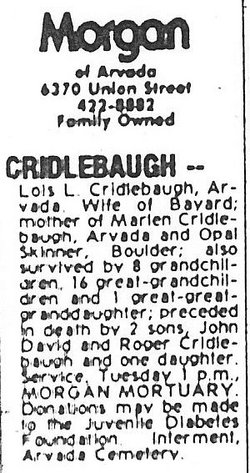 Lois Leola <i>Hawk</i> Cridlebaugh