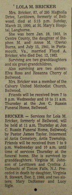 Lola <i>Burns</i> Bricker