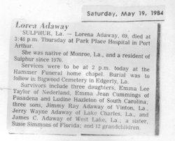 Lorea Shirley <i>Prestridge</i> Adaway