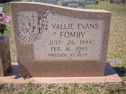 Vallie Devia Elizabeth <i>Evans</i> Fomby