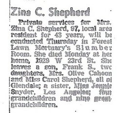 Zina Caroline <i>Snyder</i> Shepherd