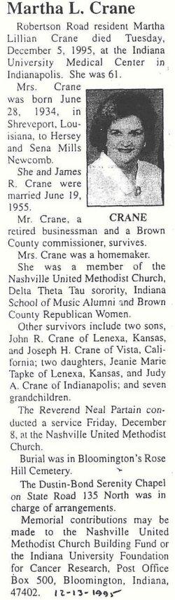 Martha L. <i>Newcomb</i> Crane