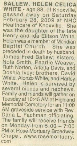Helen Celia <i>White</i> Ballew