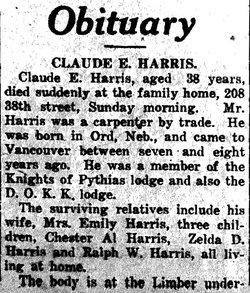Claude E Harris