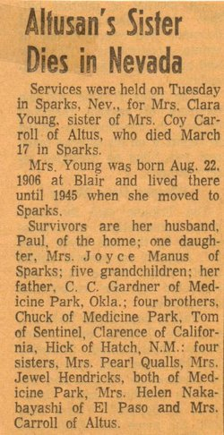 Clara Frances Adeline <i>Gardner</i> Roach Young