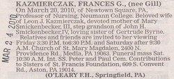 Frances G <i>Gill</i> Kazmierczak
