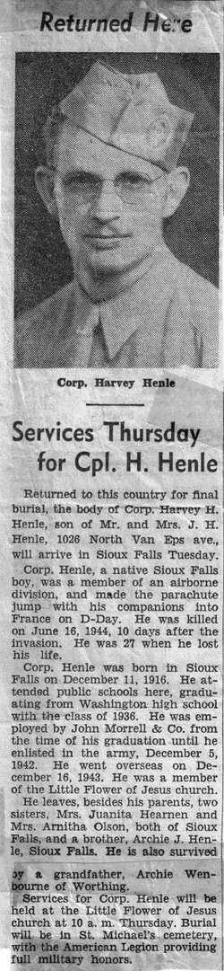 Corp Harvey Harold Henle